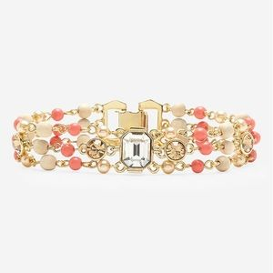 Givenchy 'Lark' Crystal and Bead Coral Bracelet